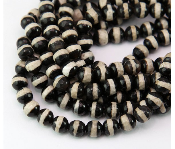 Dzi Agate Beads, Black with Beige Stripe, 6mm Faceted Round