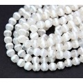 Dzi Agate Beads, Clear with White Stripe, 6mm Faceted Round, 15 inch strand