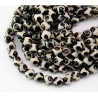 Dzi Agate Beads, Black and Beige, 6mm Faceted Round