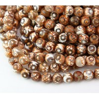 Dzi Agate Beads, Brown Evil Eye, 8mm Faceted Round