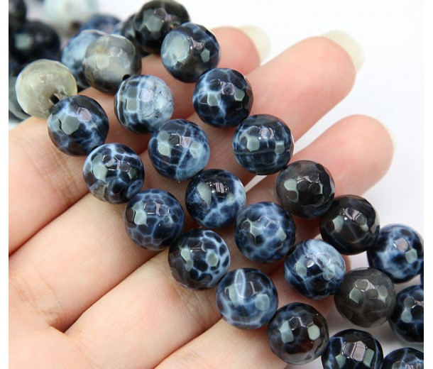 Fire Crackle Agate Beads, Blue Black, 10mm Faceted Round
