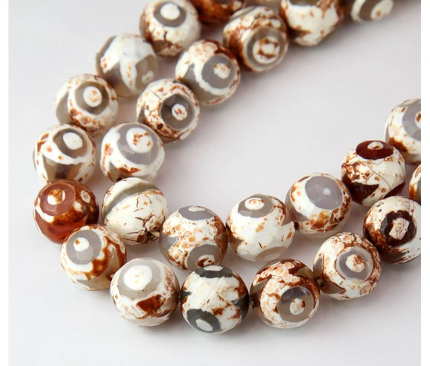 Dzi Agate Beads, Cappuccino Evil Eye, 10mm Faceted Round