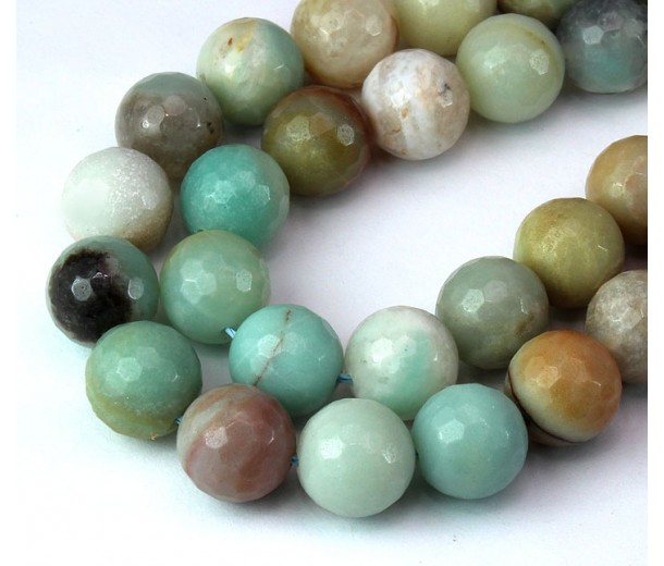 Amazonite Beads, Natural Multicolor, 12mm Faceted Round
