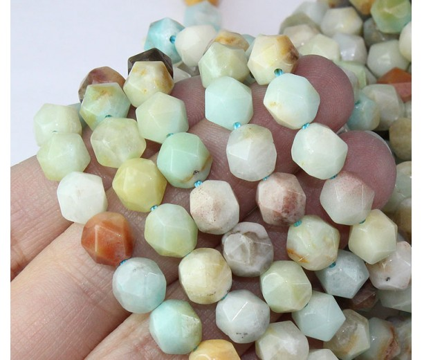 Amazonite Beads, Multicolor, 7-8mm Faceted Nugget