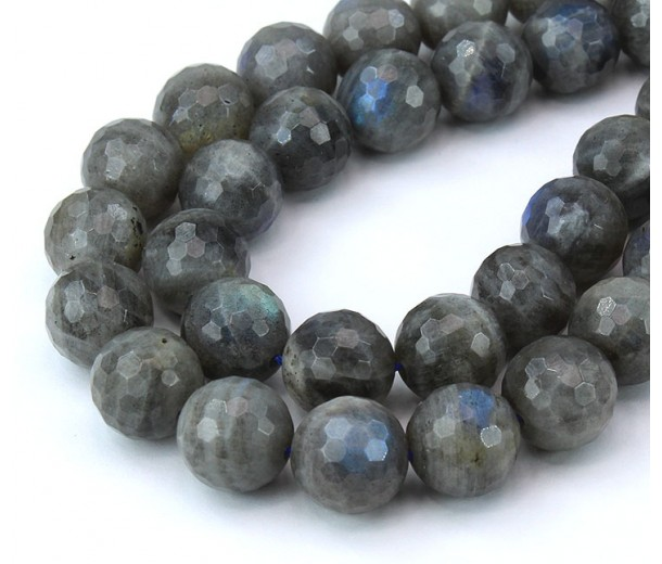 Labradorite Beads, 12mm Faceted Round