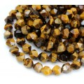 Tiger Eye Beads, Natural, 7-8mm Faceted Nugget