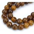 Calligraphy Stone Beads, Natural, Brown and Yellow, 8mm Round