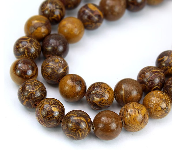 Calligraphy Stone Beads, Natual Brown and Yellow, 10mm Round