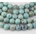 Agate Beads, Teal and Brown, 10mm Round