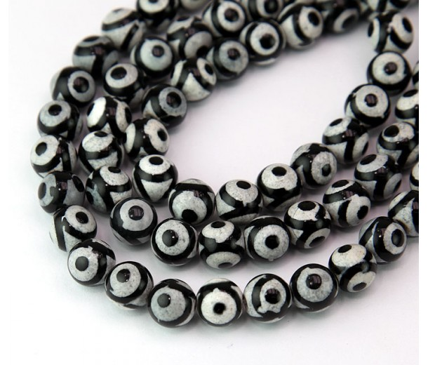 Dzi Agate Beads, Black and White Evil Eye, 8mm Round
