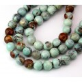 Agate Beads, Teal and Brown, 8mm Round