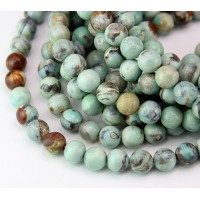 -Agate Beads, Teal and Brown, 8mm Round