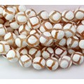 Dzi Agate Beads, White and Beige, 10mm Faceted Round
