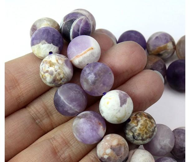 Matte Sage Amethyst Beads, Natural, 12mm Round
