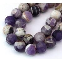Matte Sage Amethyst Beads, 12mm Round