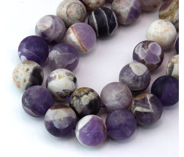 Matte Sage Amethyst Beads, Natural, 12mm Round
