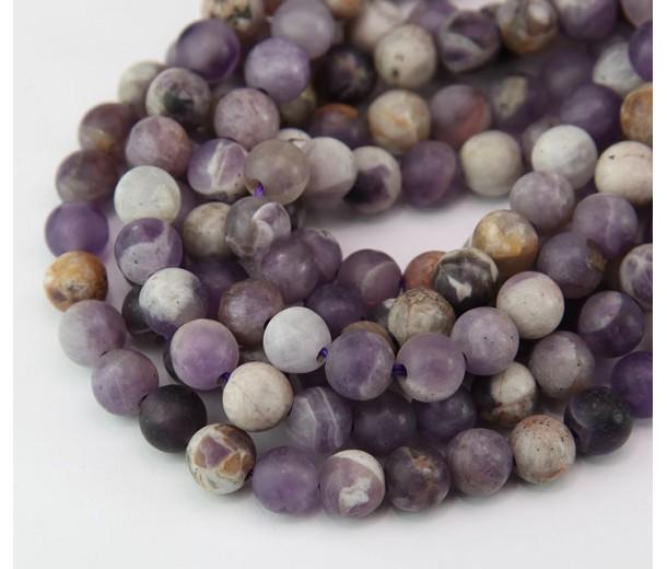 Matte Sage Amethyst Beads, Natural, 6mm Round