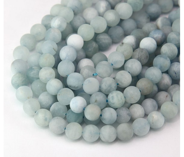 Matte Aquamarine Beads, 6mm Round