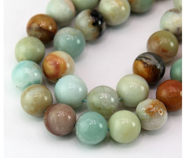 Amazonite Beads, Natural Multicolor, 12mm Round