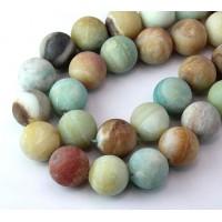Matte Amazonite Beads, Multicolor, 14mm Round