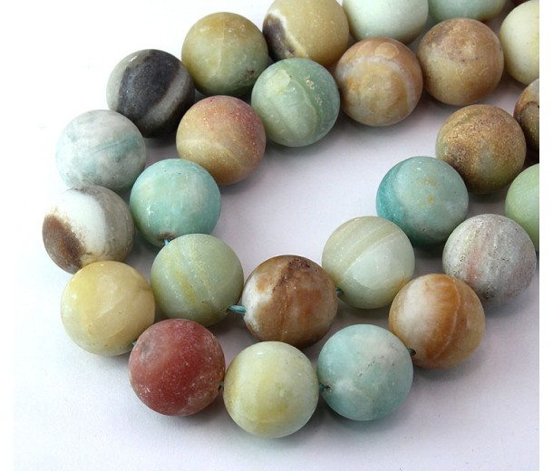 Matte Amazonite Beads, Multicolor, 14mm Round