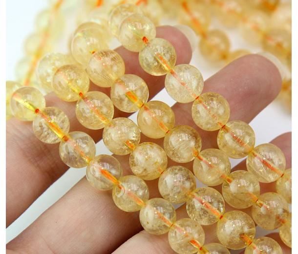 Citrine Beads, Natural Light Yellow, 8mm Round