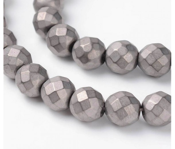 Hematite Beads, Matte Light Grey, 8mm Faceted Round