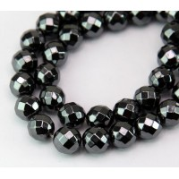 Hematite Beads, Non-Magnetic, 10mm 64-Faceted Round