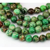 Impression Jasper Beads, Grass Green, 8mm Round
