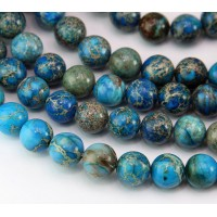 Impression Jasper Beads, Medium Blue, 10mm Round