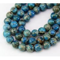 Impression Jasper Beads, Medium Blue, 8mm Round
