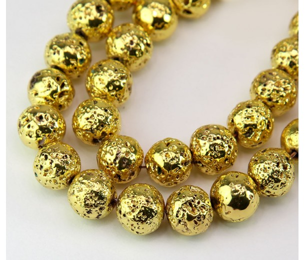 Lava Rock Metalized Beads, Yellow Gold, 10mm Round