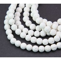 Lava Rock Beads, White, 6mm Round