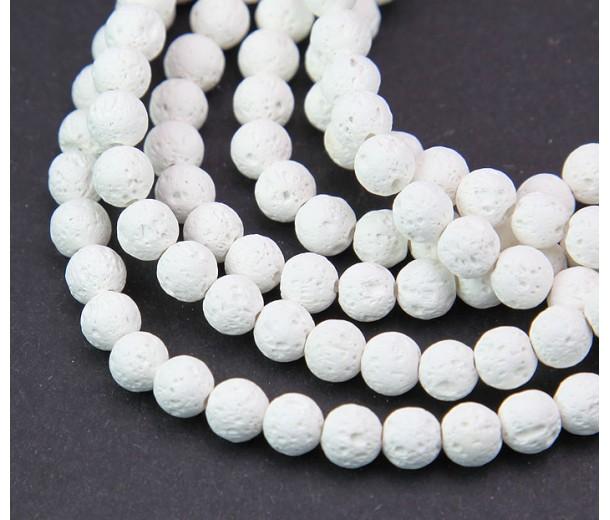 Lava Rock Beads, White, 6mm Round