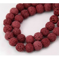 Lava Rock Beads, Dark Red, 10mm Round
