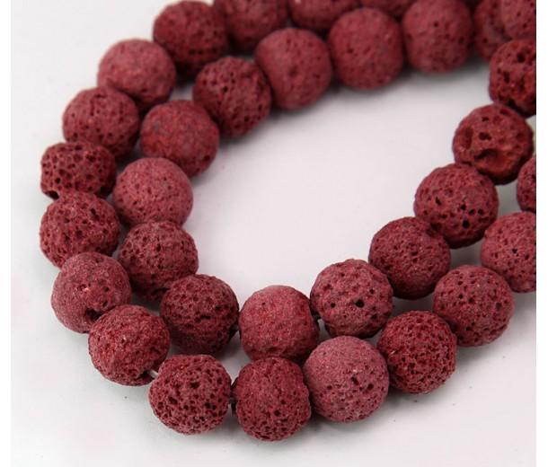 Lava Rock Beads, Dark Red, 10mm Round