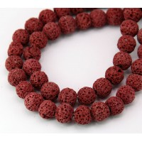 Lava Rock Beads, Dark Red, 8mm Round