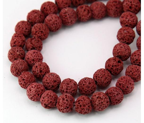 Lava Rock Beads, Dark Red, 8mm Round
