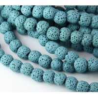 Lava Rock Smooth Beads, Light Blue, 10mm Round