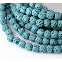 Lava Rock Smooth Beads, Light Blue, 8mm Round