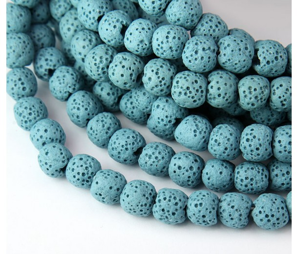 Lava Rock Smooth Beads, Light Blue, 8mm Round