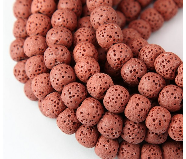 Lava Rock Smooth Beads, Brick Red, 10mm Round