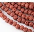 Lava Rock Smooth Beads, Brick Red, 10mm Round, 15 inch strand
