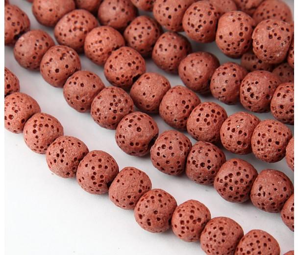 Lava Rock Smooth Beads, Brick Red, 8mm Round