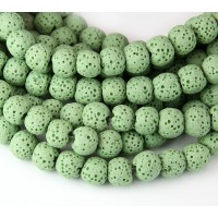 Lava Rock Smooth Beads, Light Green, 8mm Round
