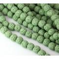 Lava Rock Smooth Beads, Light Green, 10mm Round, 15 inch strand