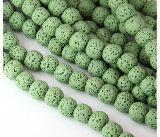 Lava Rock Smooth Beads, Light Green, 10mm Round