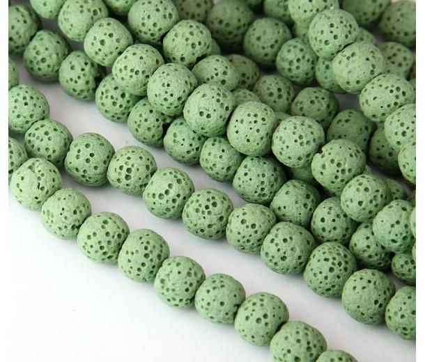 Lava Rock Smooth Beads, Light Green, 10mm Round