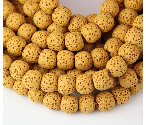 Lava Rock Smooth Beads, Honey Yellow, 8mm Round