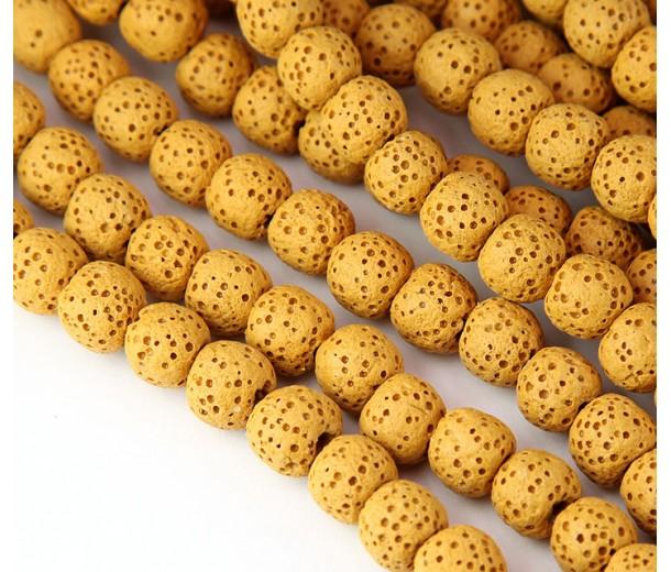 Lava Rock Smooth Beads, Honey Yellow, 8mm Round